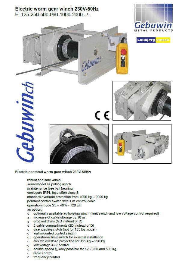 Electric worm gear 125-2000kg